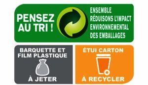 """Symbole avec marqué """"Pensez au tri"""",  qui indique ce qui se jette et ce qui se recycle."""